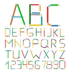 Colored Pencils Alphabet vector image vector image
