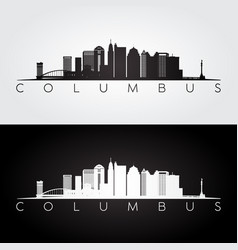 columbus skyline and landmarks silhouette vector image vector image