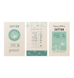 Cotton banners in vintage style vector