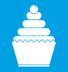 cupcake icon white vector image vector image