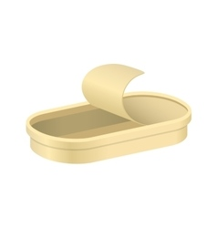 Empty opened oblong tin vector image