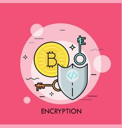 Encryption thin line concept vector