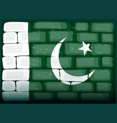 Flag of pakistan painted on brickwall vector