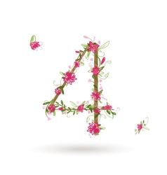 Floral number four for your design vector image