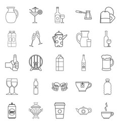 Fruit juice icons set outline style vector