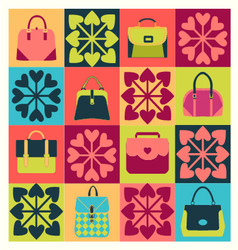 Group of objects icons set of fashion bags vector