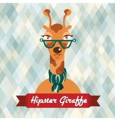 Hipster giraffe poster vector image vector image