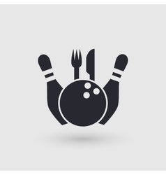 Icon bowling restaurant cafe catering place vector