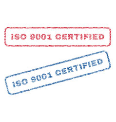 Iso 9001 certified textile stamps vector