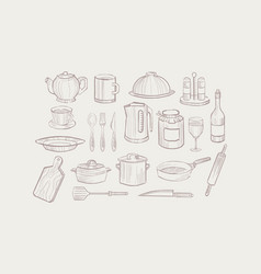 kitchen utensil set cooking equipment icons hand vector image