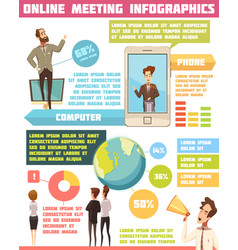 online meeting infographic set vector image vector image