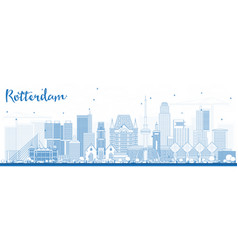 Outline rotterdam netherlands skyline with blue vector
