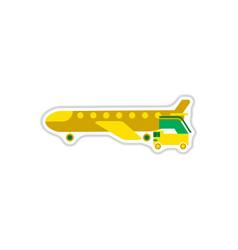 Paper sticker on white background airplane gangway vector