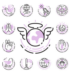 Peace outline thin line icons love world freedom vector