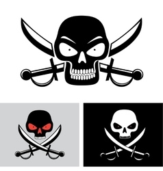 Pirate skull flag symbol vector