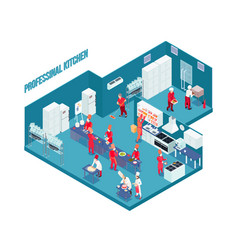 professional kitchen isometric vector image vector image