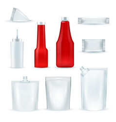 Sauce bottles packages realisic set vector