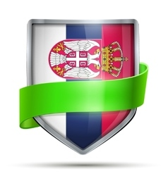 Shield with flag serbia and ribbon vector