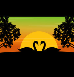 Silhouette of swan on the hill scenery vector
