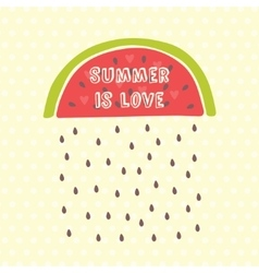 Summer card with watermelon vector image
