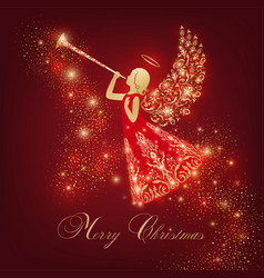 Vintage angel with ornamental wings and trumpet vector
