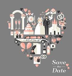 Wedding card invitation of heart vector
