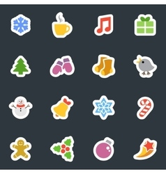 Winter flat style stickers icon set on dark vector image