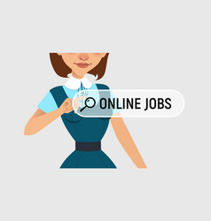 Woman is writing online job on virtual screen vector