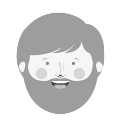Monochrome man head with beard and smiling face vector