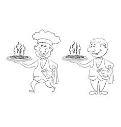 Waiters deliver a hot pizza outline vector image