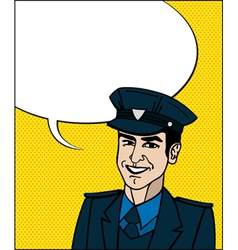 Pop art cop vector