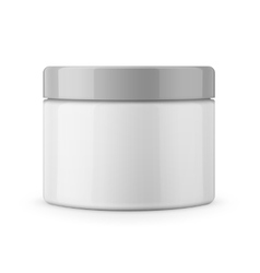 Round white glossy plastic jar for cosmetics vector