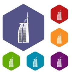 Hotel burj al arab icons set vector