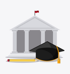 Graduation cap building pencil university icon vector