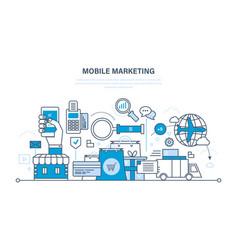 Mobile marketing analysis statistics shopping vector