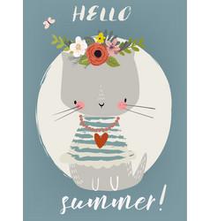 summer cute kitten vector image