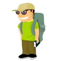 Young backpacker with travel guide vector