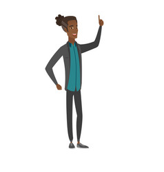 African businessman pointing his forefinger up vector
