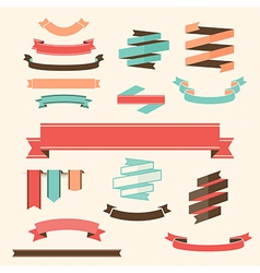 Ribbon banner set design elements vector