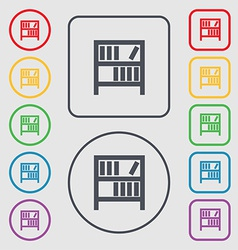 Bookshelf icon sign symbol on the round and square vector