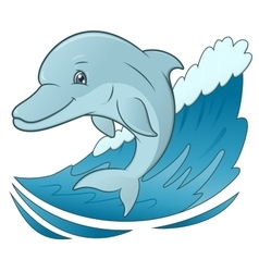 Smiling dolphin jumping 4 vector