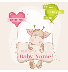 Baby girl arrival card - with cute baby giraffe vector