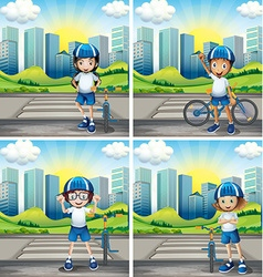 Four children with helmet and bike on the street vector image