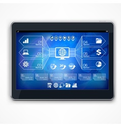 Infographic on blue tablet screen vector