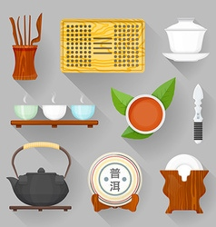 Tea ceremony equipment set vector