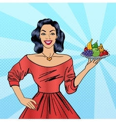 Beautiful Woman Holding a Plate with Fruits vector image