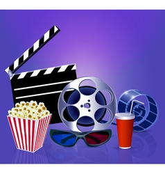 Background while a movie with popcorn glasses film vector