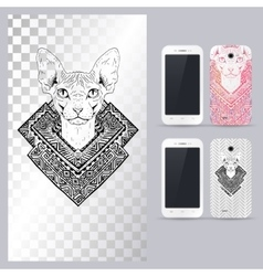 Black and white animal Cat head vector image vector image