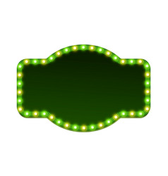 blank 3d retro light sign with shining bulbs vector image vector image