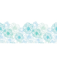 Blue line art flowers horizontal seamless pattern vector image vector image